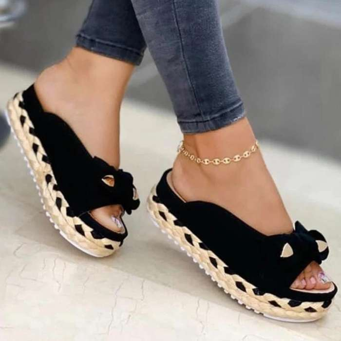 Women Casual Pu Bowknot Pure Color Braided Strap Flat Sandals