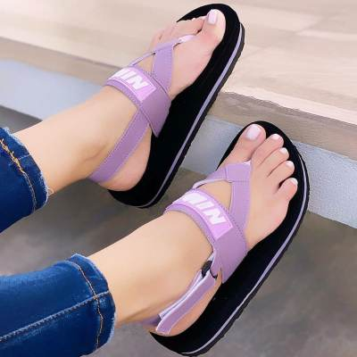 Women's Comfy Color Block Casual Platform Flip Flops