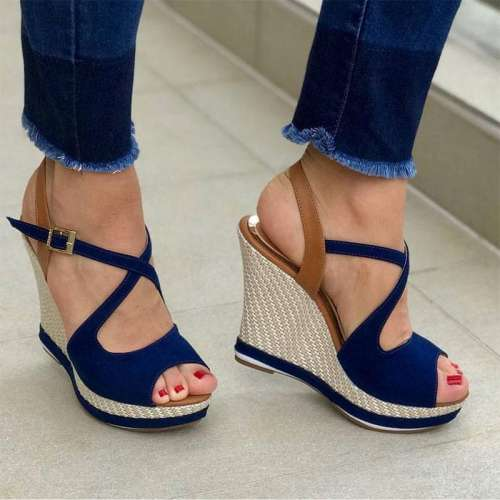 Colorblock Platform Fish Mouth Wedge Sandals