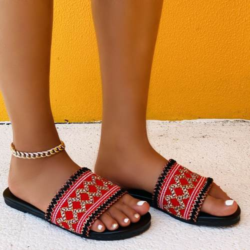 Women's Fashion Canvas Woven Sole Casual Sandals