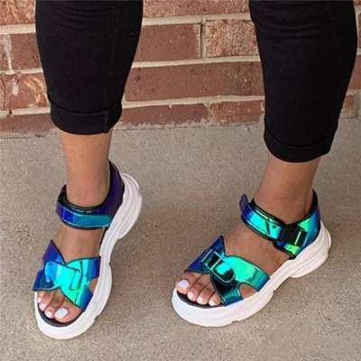 Summer Open Toe Slip-On Platform Casual Thread Sandals