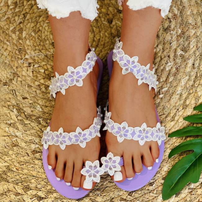 Flower Fashion Solid Color Out Door Plush Slippers