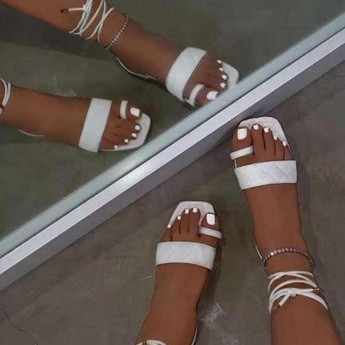 Solid Square Toe Bandage Flat Sandals