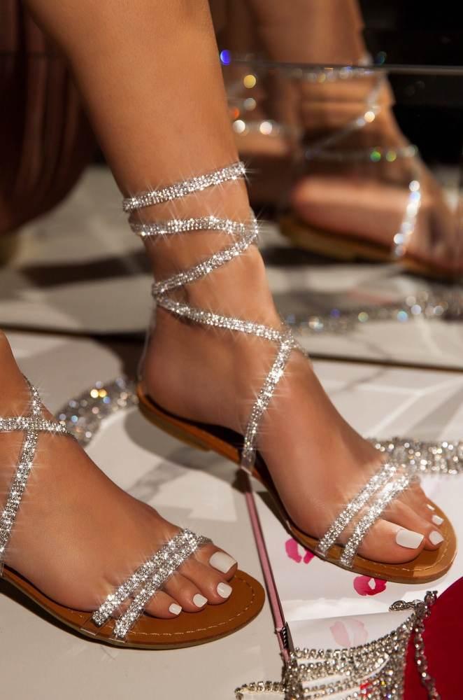 Women Fashion Web Celebrity Style Pu Rhinestone Lace-up Flat Sandals