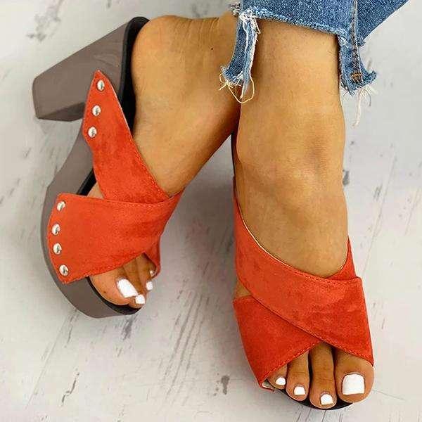 Crisscross Design Chunky Heeled Slippers