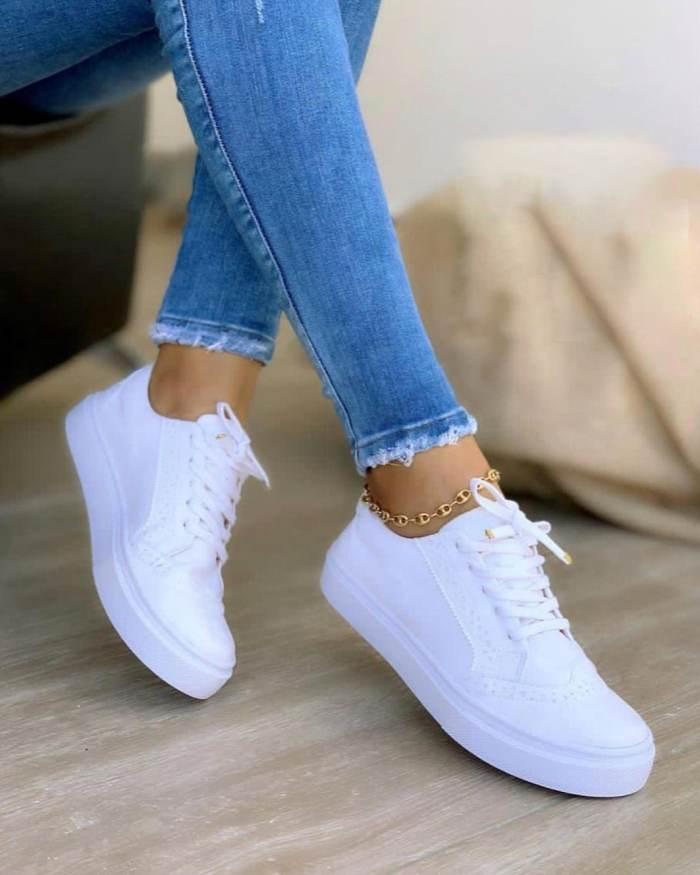 Women's Casaul Shearling Flat Heel Lace-up Sneakers