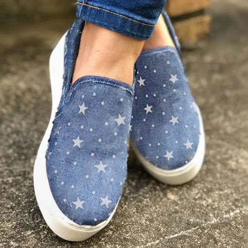 Women's Closed Toe Round Toe Denim Canvas Flat Heel Sneakers