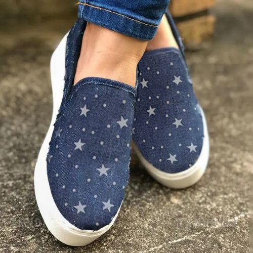 Women's Closed Toe Round Toe Denim Canvas Flat Heel Sneakers