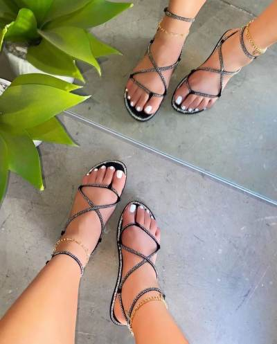 Daily Lightweight Rhinestone Detail Sandals