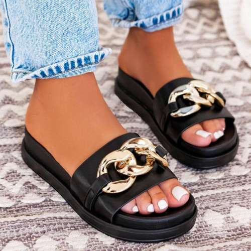 Women's Fashion Rivet Chain Flat Slippers