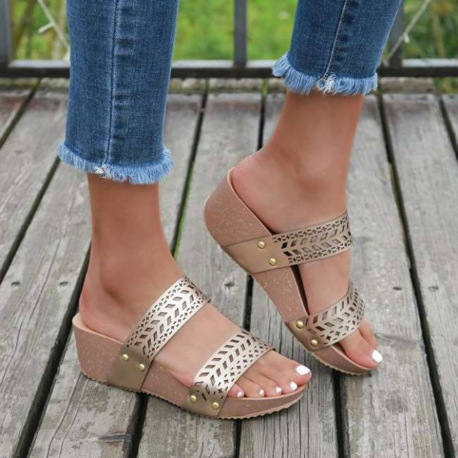Cut-Outs Slip On Wedges Sandals