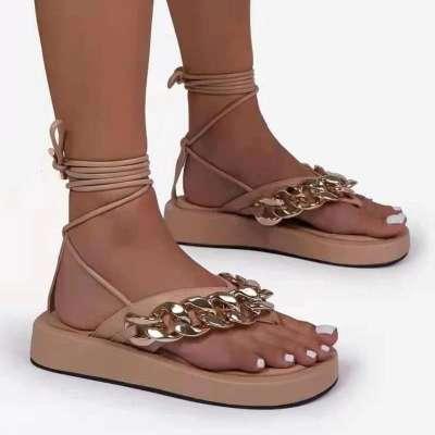 Women Fashion Comfortable Pu Chic Chain Lace-up Platform Sandals
