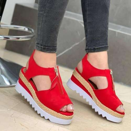 Women's Comfy Faux Suede Peep-toe Wedge Sandals