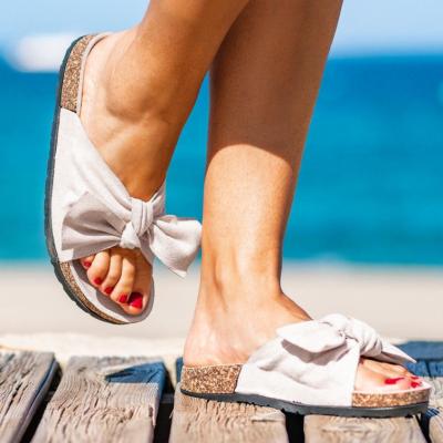 Women's Fashion Denim Bow Slippers