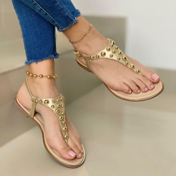 Women's Fashion Beaded T-Shaped Sandals