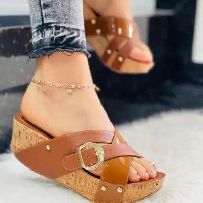Rivet Platform Heel Sandals