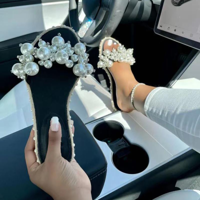 Womens Flip Pearl Fashion Sandals