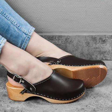Faux Leather Clogs Strap Buckle Wooden Sole Sandals