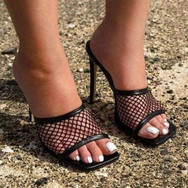 Mesh Slip On Open Toe Thin Heels