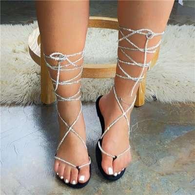 Women's Rhinestone Lace-Up Flip-Flop Roman Sandals