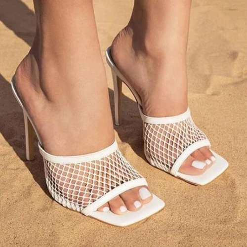 Mesh Slip On Open Toe Thin Heels