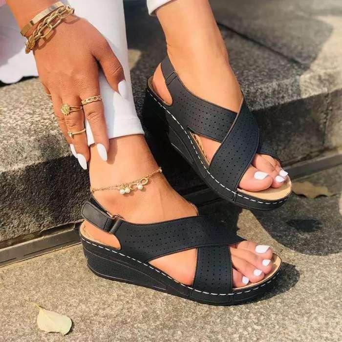 Women's Casual Comfortable Pu Cross-Strap Magic Tape Wedge Heel Sandals