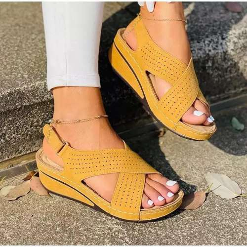 Women's Casual Comfortable Pu Cross-Strap Magic Tape Wedge Heel Sandals