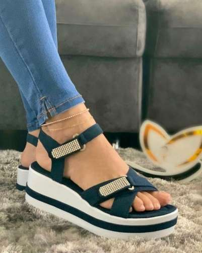 Women's Fashionable And Comfortable Rhinestone Velcro Design Platform Sandals