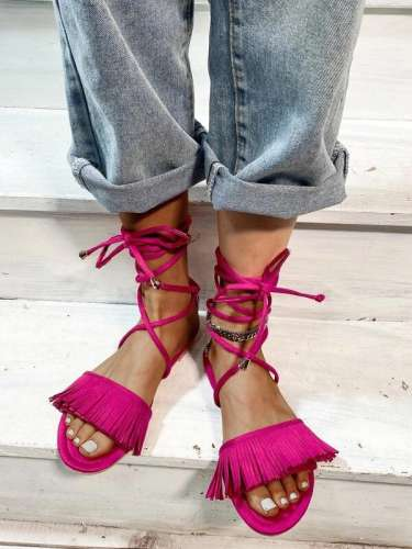 Women's Comfy Fringe Decor Tie Leg Flat-Sandals