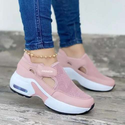 Women's Fashion Air Cushion Sole Flying Woven Velcro Sneakers