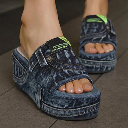Women Casual Comfortable Denim Pure Color Wedge Heel Sandals