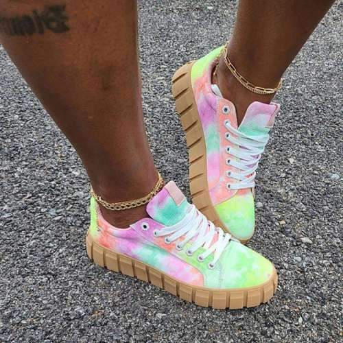 Women's Comfy Multi Color Platform Tennis Shoes