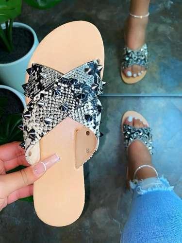 Women's Beach Leather Flat Heel Slippers