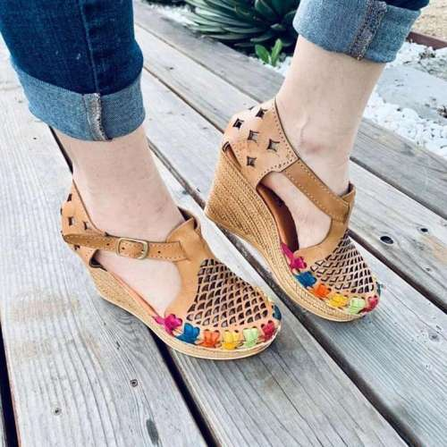 Women's Hollow Handmade Wedge Sandals