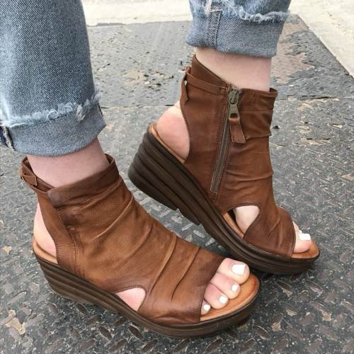 Women's Comfy Side Zipper Wedge Sandals