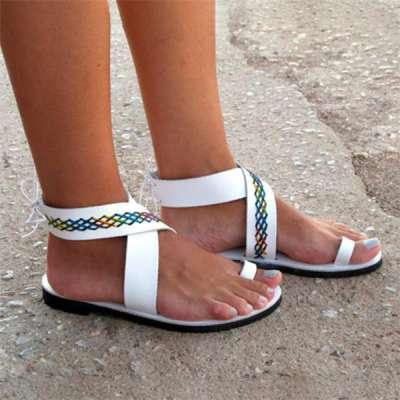 Women Leather Anlke Wrap Sandals