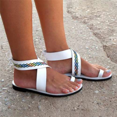 Women Leather Anlke Wrap Sandals