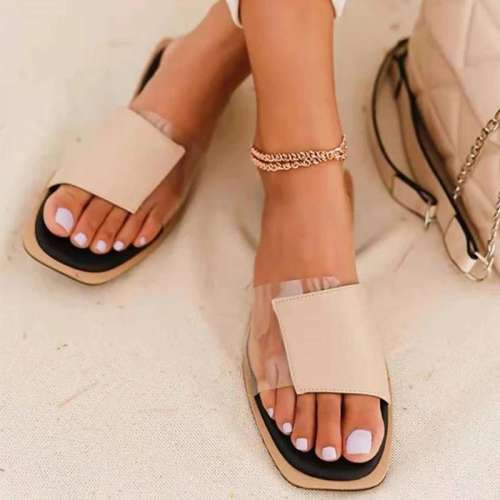 Women Simple Elegant Fashion Pu PVC Split Joint Flat Sandals Slippers