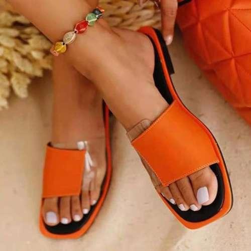 Women Simple Elegant Fashion Pu PVC Split Joint Flat Sandals Slippers