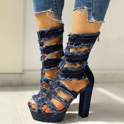 Ladder Cut Out Platform Chunky Heeled Sandals