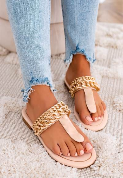 Casual Toe Loop Iron Chain Detailing Jelly Sandals