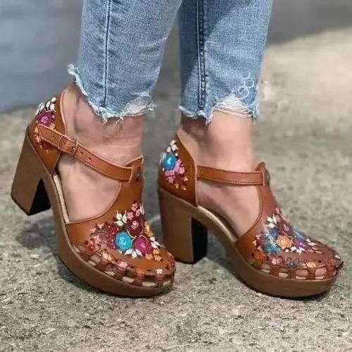 Women's Fashion Retro Print Handmade Block Heel Sandals