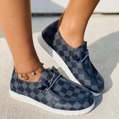 Checkered Pattern Lace-up Front Loafers