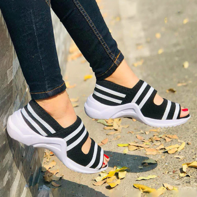 Comfy Flyknit Fabric Breathable Platform Sandals
