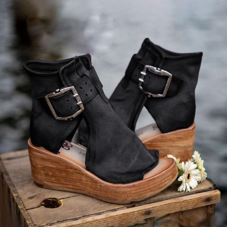 Vintage PU Buckle Wedge Sandals(Buy 3+ Get 10%OFF🔥🔥🔥)