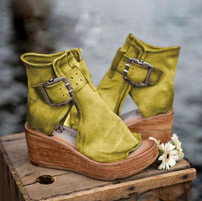 Vintage PU Buckle Wedge Sandals