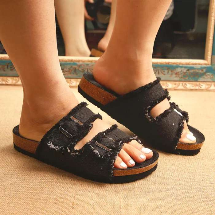 Women's Fashion Denim Slippers With Square Buckle And Cork Bottom