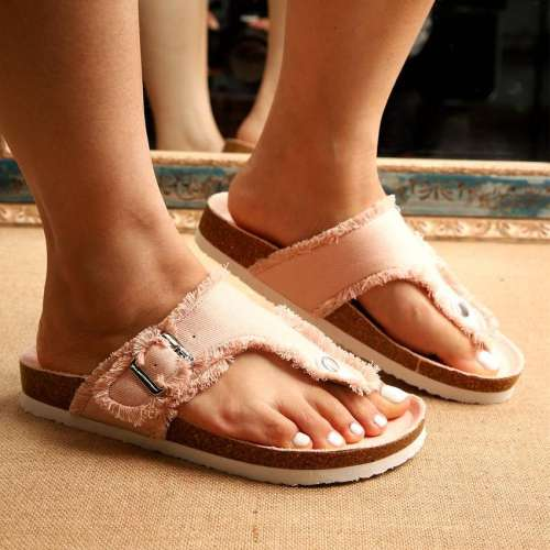 Women's Fashionable And Comfortable Denim Slippers With Cork Bottom