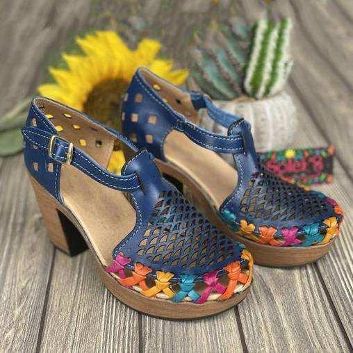 Women's Fashion Retro Hollow Design Block heel Sandals