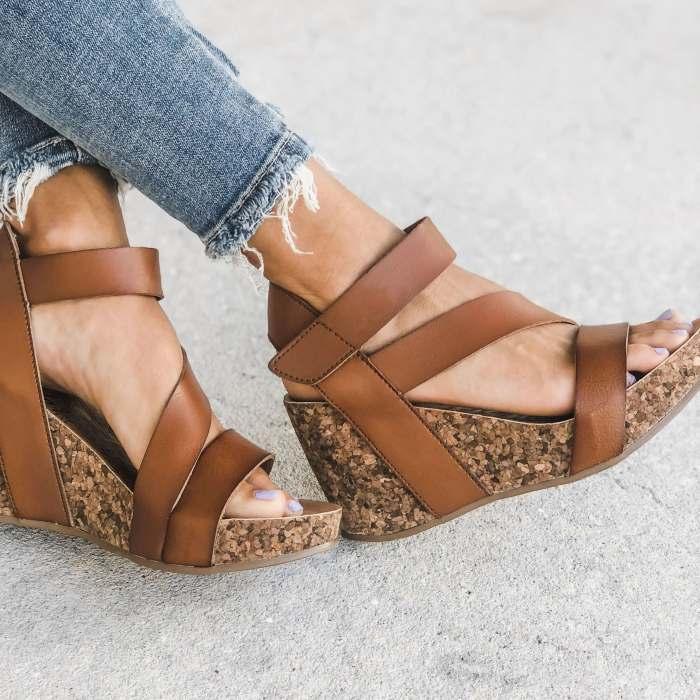 Women's Fashion Retro Velcro Cork Wedge Sandals